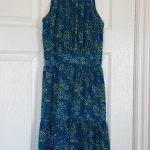 Gorgeous Blue and Yellow Floral Halter Dress